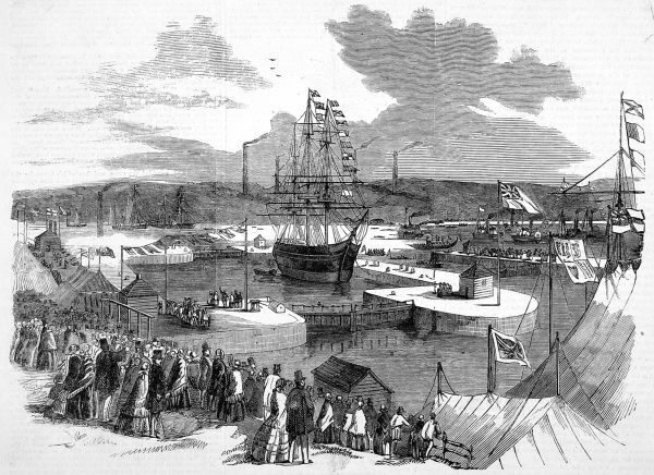 Engraving showing the opening of the Northumberland dock at Newcastle-upon-Tyne in 1857