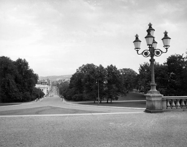 View of the avenue approaching the Royal Palace, viewed from the palace itself, Oslo, Norway. Date: late 1960s
