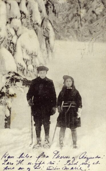 Norwegian brother and sister in the snow Date: 1909