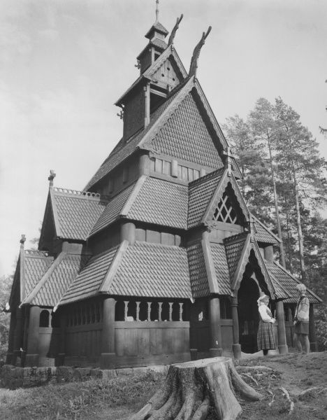 A Stave Church in the Norwegian Folk Museum at Bygdoy, Oslo, Norway. Date: 12th century