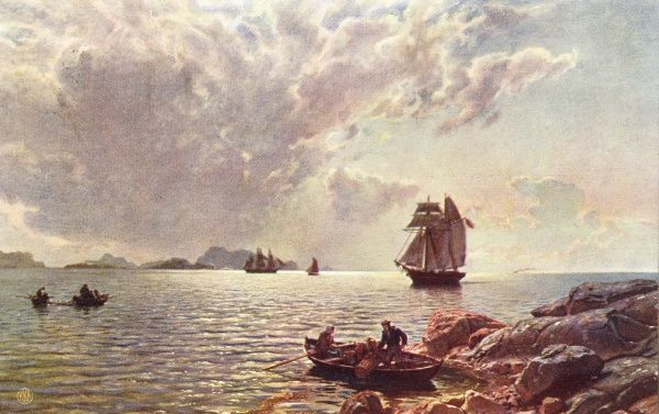A two-master sails up a Norwegian fjord Date: late 19th century
