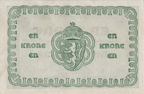 Back of a Norwegian banknote on 1 krone edited 1922. Date: 1922