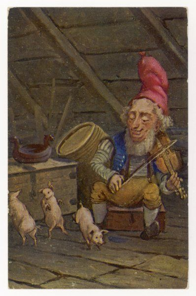 A Norwegian 'nisse' fiddles while pigs dance