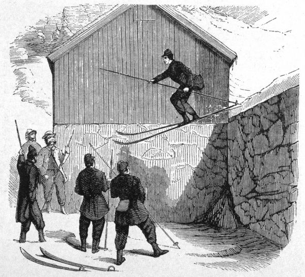 A man performs a jump from a ledge, watched by some admiring fellow skiers. Date: 1862