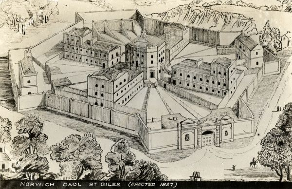 A bird's-eye view sketch of the prison at St Giles, Norwich, erected in 1827. Date: Date unknown