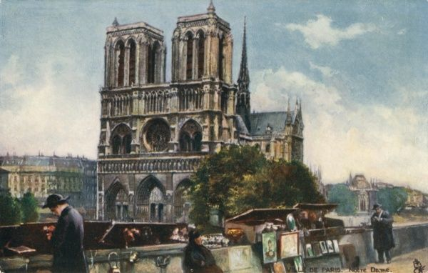 Notre Dame Cathedral, Paris - viewed from the Southern bank of the River Seine, where secondhand book sellers have set up their (semi-permanent) stalls, alongside vendors of paintings and prints