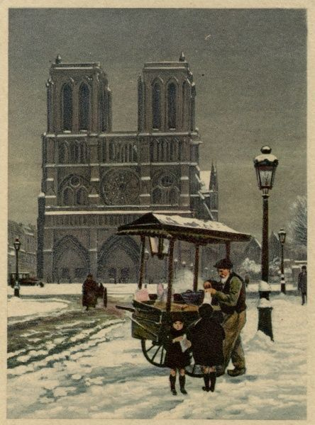 View of the west facade of Notre Dame, Paris, in the snow, with a street trader in the foreground. Date: 20th century