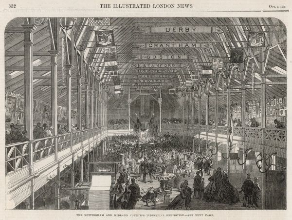 Visitors at the Nottingham and Midland Counties Industrial Exhibition, in a building erected for the purpose in the Cattle Market at Nottingham