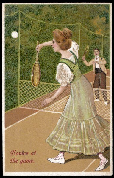A novice, not very sure how she should hold her racquet, let alone return the ball
