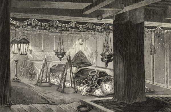 The remains of Napoleon I lie in state aboard La Belle Poule on their way to France in the custody of le prince de Joinville, son of Louis- Philippe