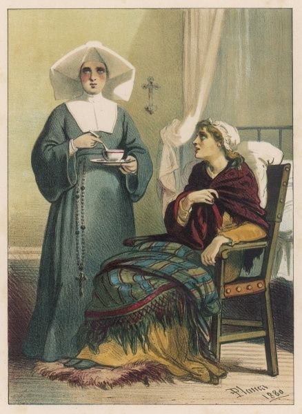 A sick woman, wrapped in a blanket, is visited by a nun, who stirs her cup of tea