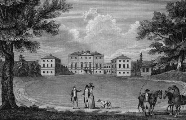 Riders, strollers and their dog, in the grounds of Nuneham Courtenay, Oxfordshire -- the couple are probably the Earl and Countess of Harcourt, who own the place. Date: 1788