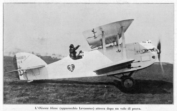 The 'Oiseau Bleu' piloted by French WW1 air ace Charles Nungesser, with colleague Coli, before their attempt to fly the Atlantic : they will vanish at sea or in Maine