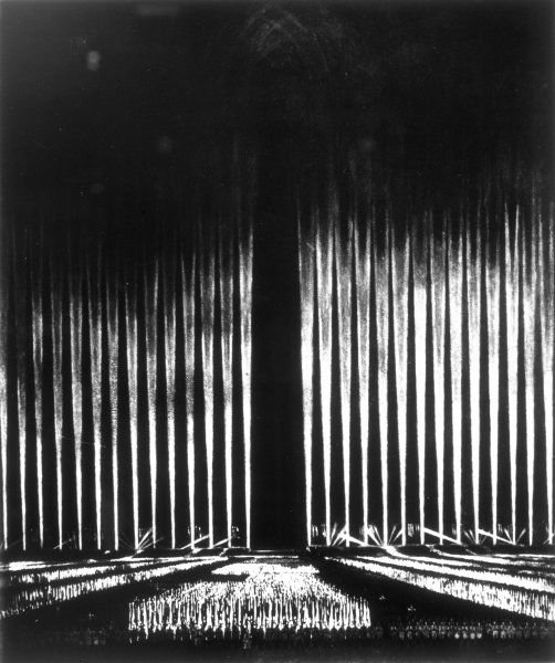 Albert Speer's 'Cathedral of Light' at the Nuremberg Rally. Speer was later the Minister for Armament in the 1940s. Date: 1937