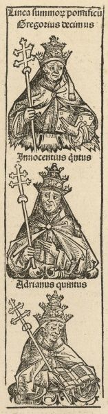 Several popes depicted in Meisterlin's Nurnberger Chronik: Gregory, Innocent and Adrianus