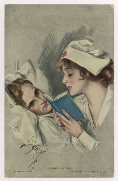 A nurse reads a book to her patient, who is very pleased to have her read to him