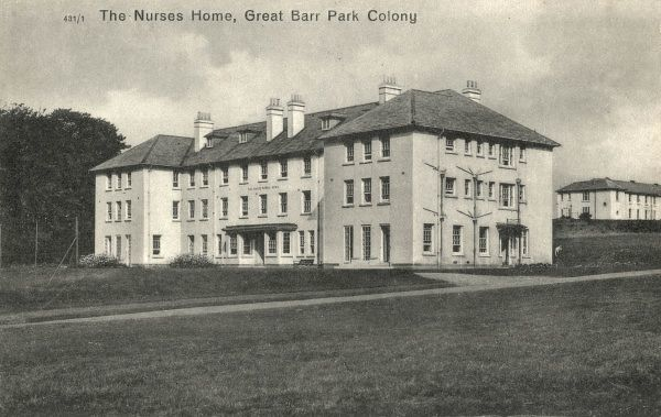 The Hailey Nurses Home at the Great Barr Park Colony, Staffordshire. The colony, for what were then termed mental defectives, was opened in around 1918 by the Walsall and West Bromwich Joint Committee to house people with severe learning difficulties
