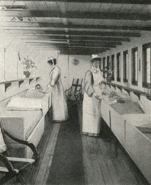 Scene inside the river ambulance Geneva Cross. Along with two other river ambulances it was operated by the Metropolitan Asylums Board to transport smallpox patients from London down the Thames to the hospital ships Atlas, Endymion and Castalia