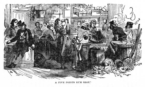 Men, women and even children drinking in a rum shop in New York Date: circa 1870