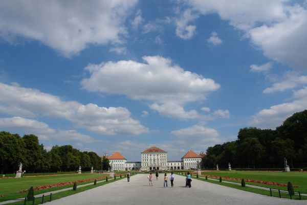 View of Nymphenburg Park in Munich, Bavaria, Germany, with the Palace on the horizon