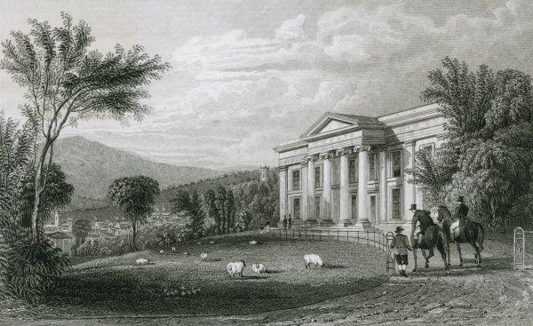 Sheep graze on the lawns of Oaklands, Devon, the seat of Albany Savile esquire, who stops to talk with a groundsman while out riding. Date: circa 1830
