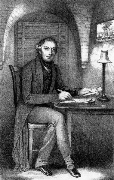 Richard Oastler, reformer, in his cell, number 12 Coffee Gallery, at the Fleet, London, where he is imprisoned for four years, occupying himself by writing 'The Fleet Papers' Date: 1840-1844
