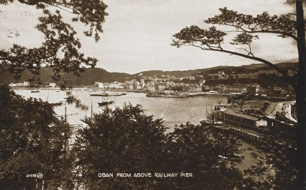 Oban, Scotland - view from above the Railway Pier looking down toward the bay and town