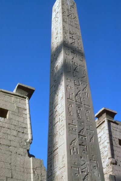 The remaining 'in situ' obelisk before the main front entrance to the Temple at Luxor. The sister obelisk was moved to the Place de la Concorde in Paris