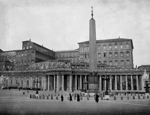 The ancient Egyptian obelisk which Emperor Caligula had brought from Heliopolis in 37 A.D., which now stands between the double colonnade in St. Peter's Square, Rome. Date: 1930s
