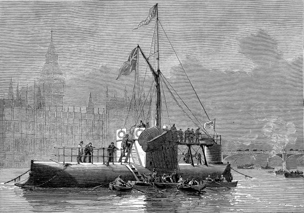 Engraving showing the Obelisk ship 'Cleopatra', with 'Cleopatra's Needle' aboard, off Westminster Bridge, London, 1878