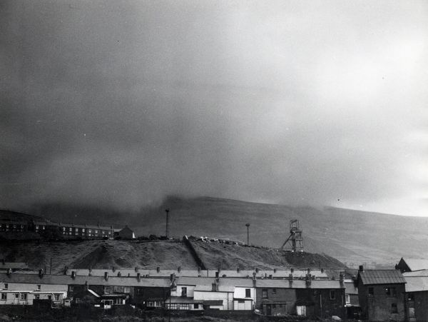 View of the Ocean Colliery (also known as Western Colliery), Nant Y Moel (Nantymoel), Ogmore Vale, Glamorgan, South Wales, with a mixture of sleet and smoke on a day of bad weather. This colliery closed in 1984