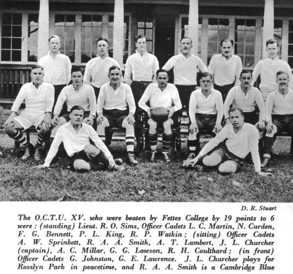 A team photo of the OCTU rugby team who were beaten by Fettes College by 19 points to 6