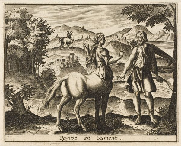 The daughter of the centaur Chiron tells Aesculapius that he will be a famous physician, but she is turned into a mare for her presumption