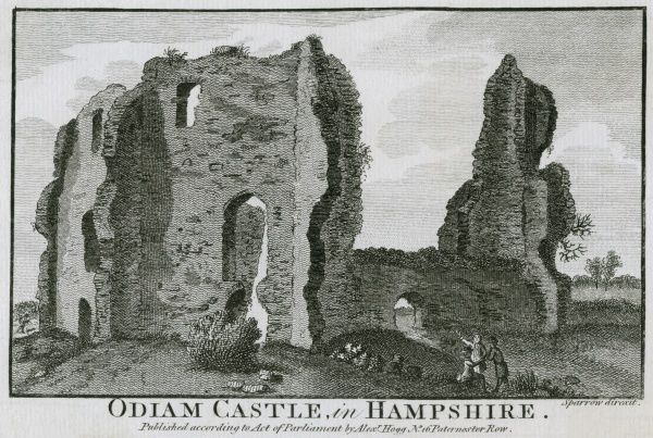 The ruins of Odiham Castle (here spelt Odiam) Hampshire Date: circa 1770
