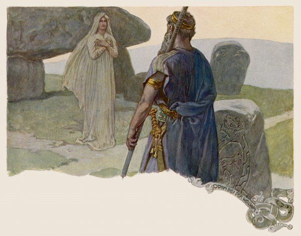 Odin consults a wolwa, a seeress who can tell him his destiny
