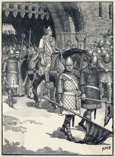 Odo of Bayeux, unable to regain power, conspires against William II and is exiled from England : the illustration shows him leaving Rochester Castle, Kent