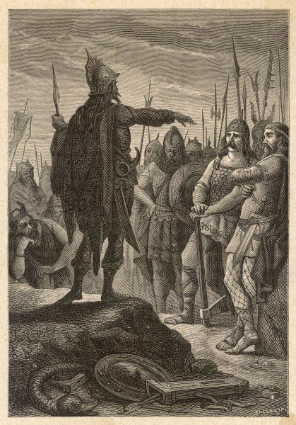 The first Barbarian King of Italy, Odoacer, prepares his army for an attack on Rome