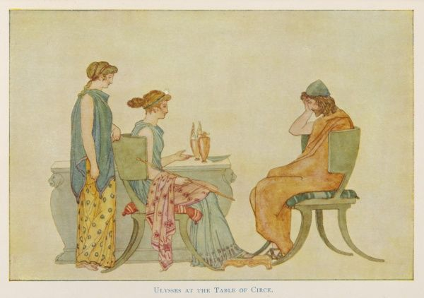 Circe the sorceress, with her handmaiden at her side, urges Odysseus (Ulysses) to have a drink from her table. But since she turned his men into pigs. he is reluctant to do so