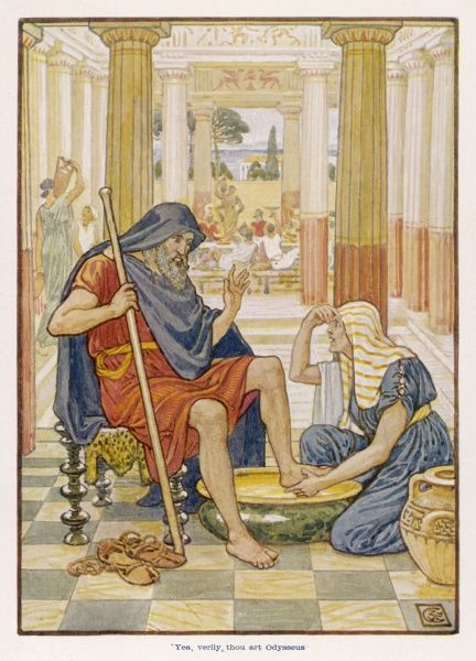 Odysseus, having returned from his travels, but still in disguise to fool Penelope's suitors is recognised by his old nurse, Eurycleia as she washes his feet