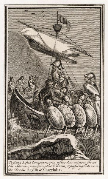 Odysseus and his men encounter sirens singing a song, in an effort to tempt them to land on their island -- if they go near, they will be shipwrecked on the rocks. Fortunately they resist, and sail by