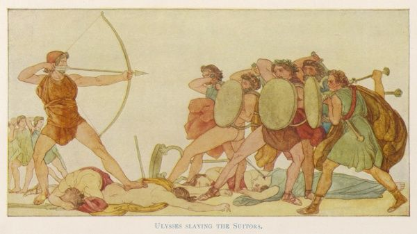 Throwing off his disguise and stringing his bow, which none of the men could string, Odysseus (Ulysses) kills the Suitors of his wife Penelope, at Ithaca