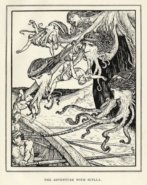 Scylla, the six-headed monster who lived in a cave next to the deadly whirlpool Charybdis, attacks Odysseus' men