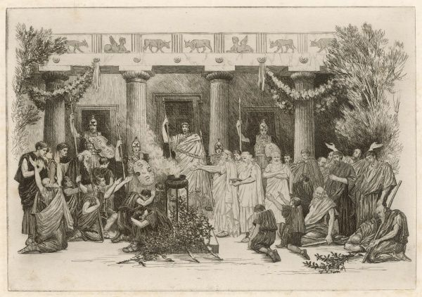 Suppliants before the palace of Oedipus and Jocasta at Thebes
