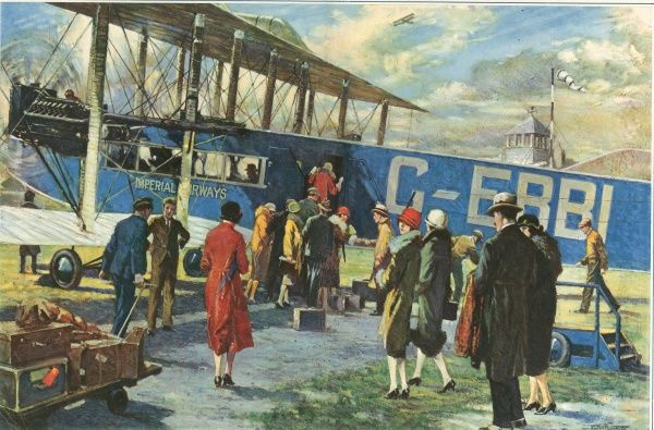 Off for Paris - The Start of an Imperial Airway Liner from Croydon Aerodrome, drawn for The Sphere by W. Bryce Hamilton