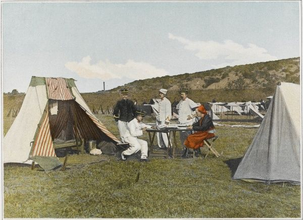 An officer of the 'Armee d'Afrique' at his tent during an expedition
