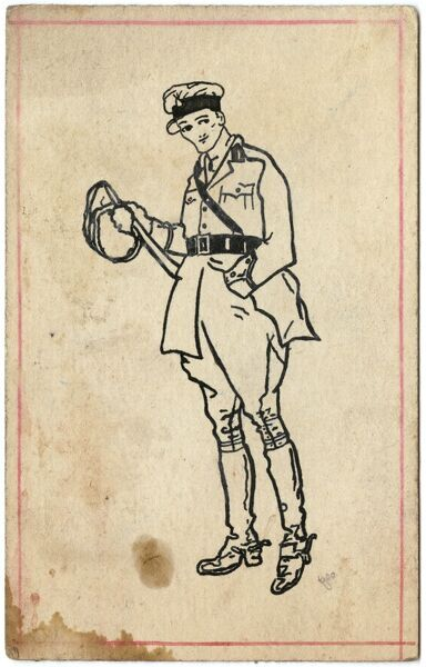 Drawing on a postcard of a young Army officer during the First World War by George Ranstead, an amateur artist of the Great War who served in the Army Pay Corps