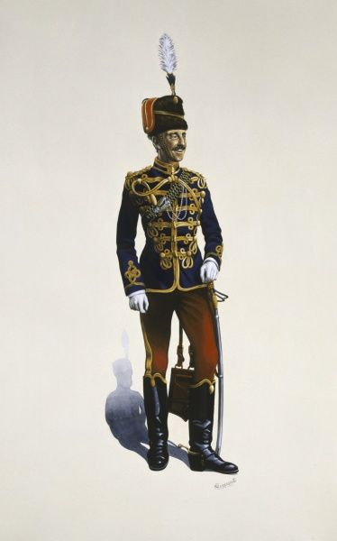 Officer Lieutenant of the 10th Royal Hussars (Prince of Wales' Own) circa 1890. Painting by Malcolm Greensmith