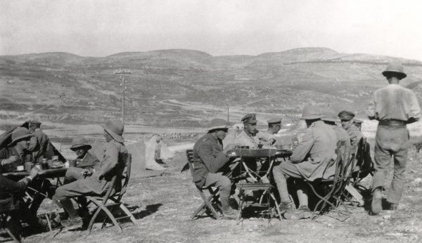 Officers of the 1st Battalion Connaught Rangers at lunch during their march from Nazareth, which they left on 17 November 1918 after being on garrison there since 27 September. The tables and chairs were left behind in Nazareth by the Germans