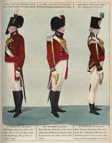 Officers of the 33rd, 56th and 50th Regiments of Foot in uniform, carrying swords