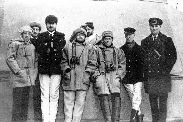 Officers of the 'Dreadnought' wearing war winter kit for active service